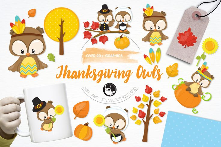 Thanksgiving Owls graphics and illustrations by Prettygrafik Design available for $3.00 at DesignBundles.net