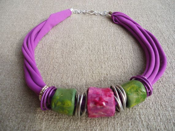 Handmade necklace made with clay tubes. original and funny