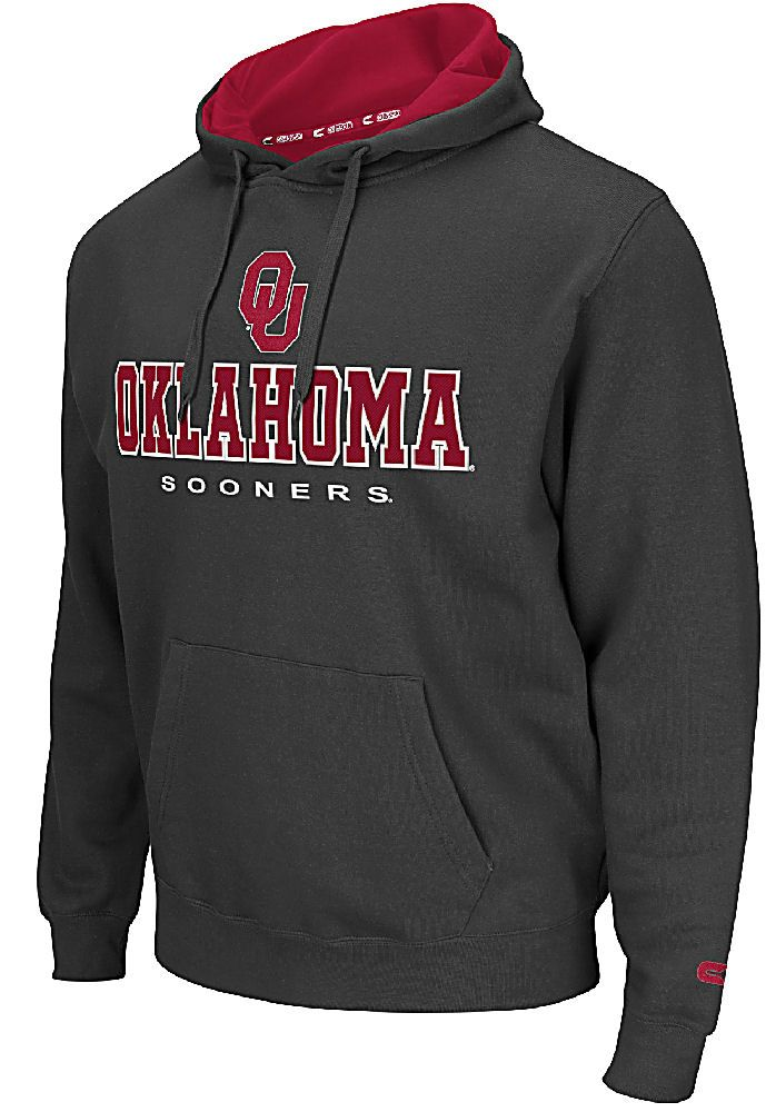Oklahoma Sooners Mens Charcoal Zone 2 Embroidered Hoodie $49.95