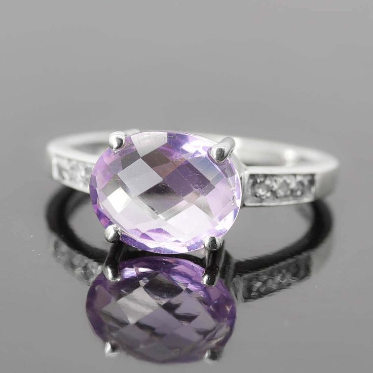 Amethyst Ring, 2.5 ct, Purple, Oval Cut, Birthstone Ring, February, Gemstone Ring, Sterling Silver Ring, Solitaire Ring, Statement Ring by JubileJewel on Etsy