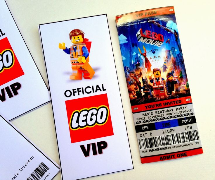 Free Printable Ticket Style Party Invitations -- The Lego Movie #lego #partyideas