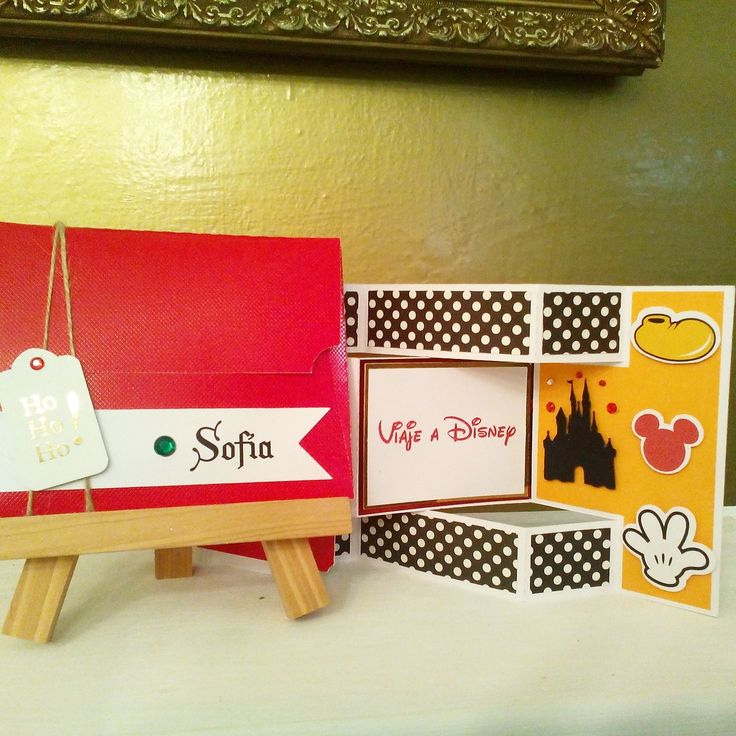 Tarjeta de regalo para navidad. Viaje a Disney