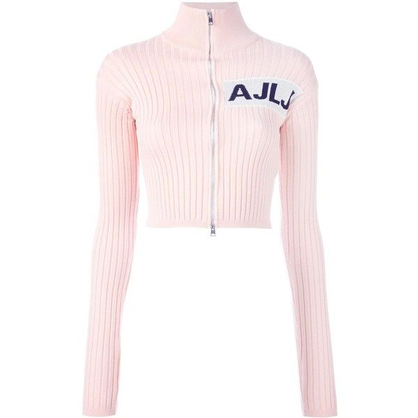 Au Jour Le Jour cropped zipped cardigan (€190) ❤ liked on Polyvore featuring tops, cardigans, jackets, sweaters, long sleeved, zipper top, zipper cardigan, long sleeve cardigan, crop top and zip cardigan
