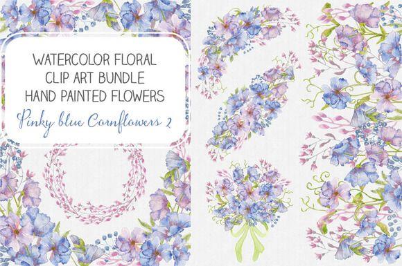 Watercolor bundle: Cornflowers II by Lolly's Lane Shoppe on Creative Market