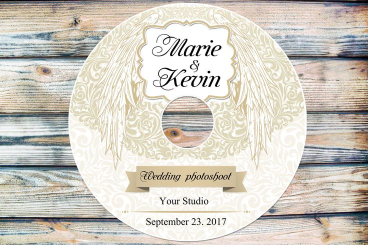 Wedding Wings CD/DVD Label Template - cd Label Template - vintage patterns - dvd Label Template - cd Case Photoshop PSD by CameraClick on Etsy