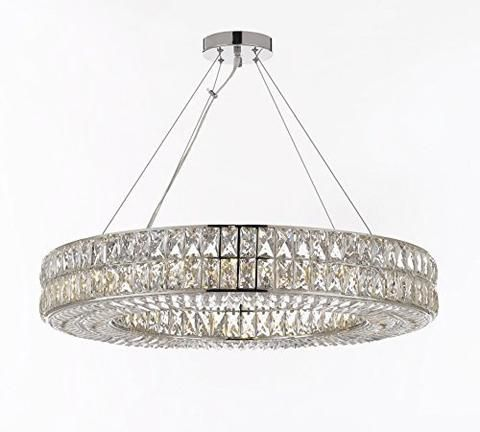 """Crystal Spiridon Ring Chandelier Chandeliers Modern / Contemporary Lighting Pendant 32"""" Wide - Good for Dining Room, Foyer, Entryway, Family Room and More! - GB104-3063/16"""
