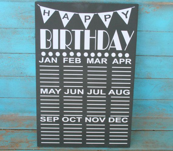 Chalkboard Birthday Calendar Teacher Gift Mothers by RoxieFlair