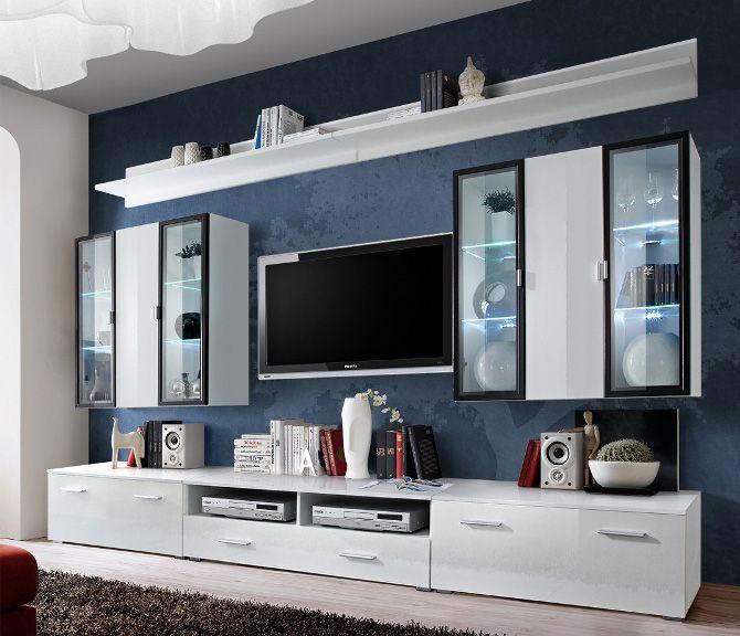 Malmo 1 High Gloss Entertainment Center In 2020 Modern Wall