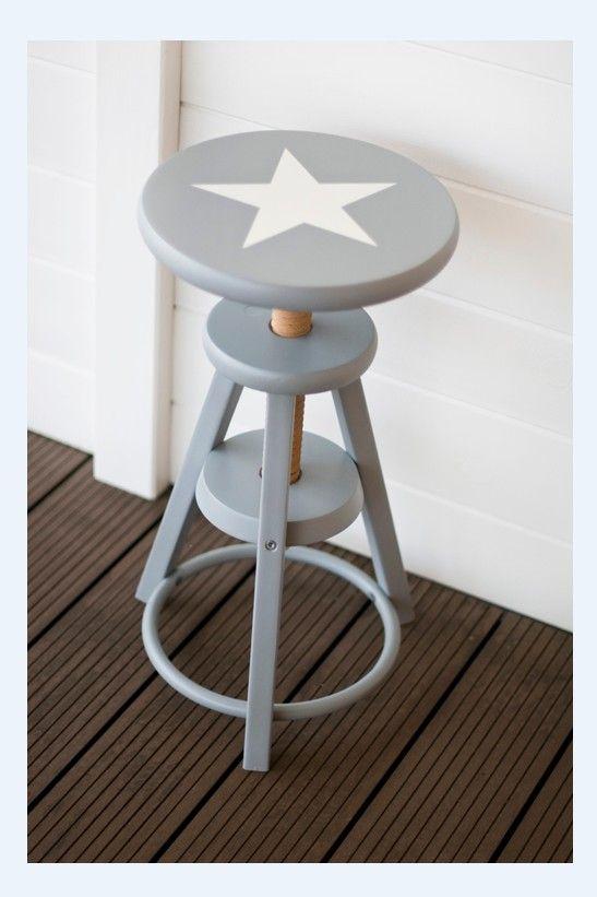 Stołek, krzesło szare z białą gwiazdą