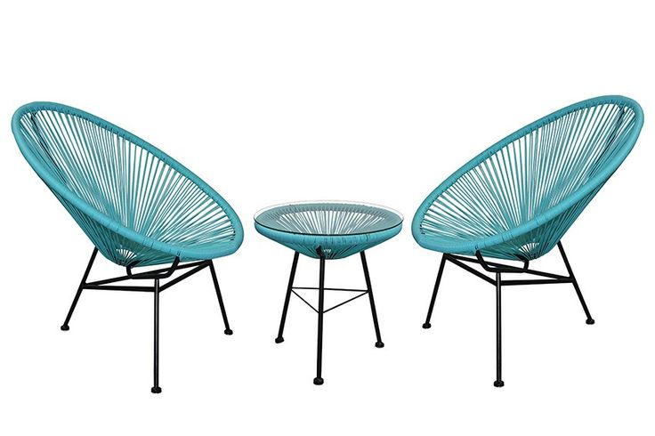 Replica Acapulco Lounge Chair Setting - Aqua - Perfect for an alfresco area renewal using these groovy colours or even use these stunning pieces indoor. Our replica Acapulco settings are Mexican inspired and are one of our hottest selling ranges. Our Replica Acapulco Chairs and Side Tables are made from powder coated steel thats been hand welded and then woven by hand using UV stable Poly Wicker. Our side table also come with a tempered glass top which is perfect for drinks including a tall…