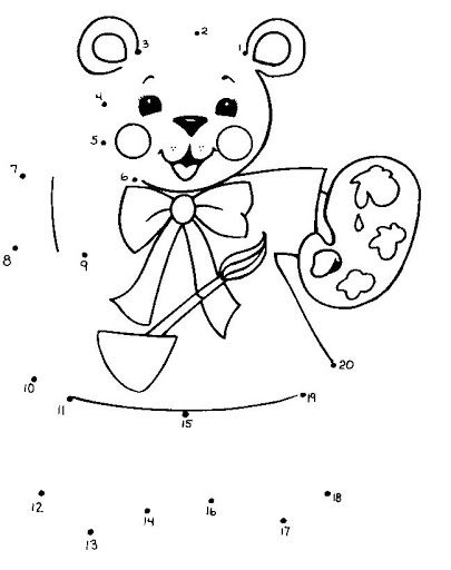 connect the dots teddy bear painting and 44 more free printable connect the dots puzzles