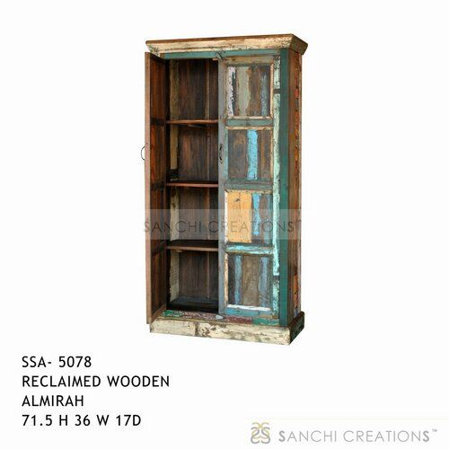 Reclaimed wooden almirah  Reclaimed wooden almirah four shelves with  door intended to stand at the side of living room,bed room study room.Thisalmirah readily bring away an image of an antique wood furniture may be a storage space in the kithen,inbedroom,study room or in office spaces. Reclaimed wooden almirah has been used as  a bookcase also. Reclaimed wooden almirah has been used as  a bookcase also. http://www.sanchicreations.com/