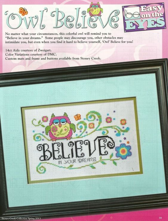ponto cruz coruja: Believe Crosses Stitches, Embroidery Crosses Stitches, Dreams Crosses, Stitches Crosses Stitches, Crossstitch, Owl Crosses, Crosses Stitches Crazy, Cross Stitch, Stitches Owl