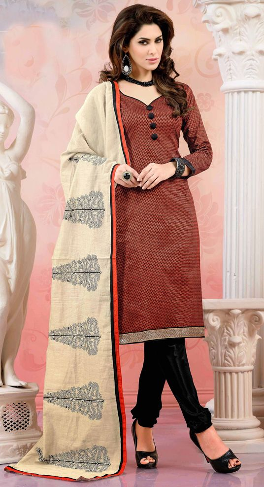USD 20.05 Brown Chanderi Silk Churidar Suit 44489