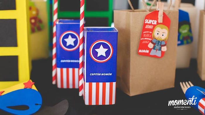 Captain America juice boxes from Modern Avengers Birthday Party at Kara's Party Ideas. See the whole party at karaspartyideas.com!
