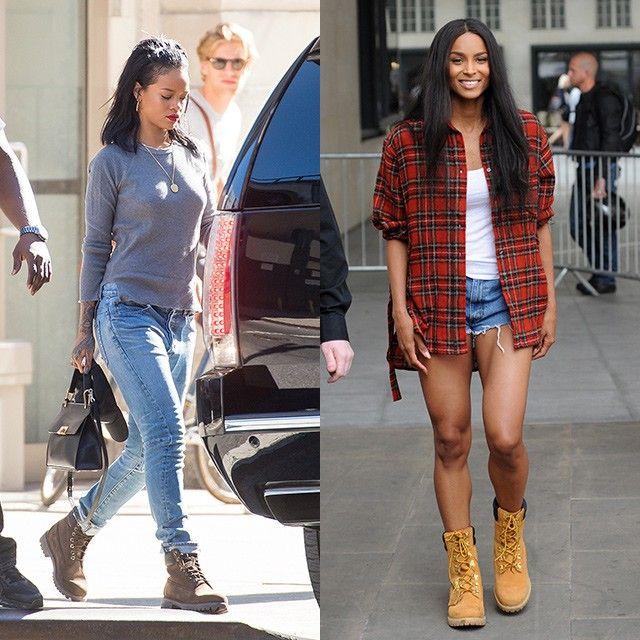 rihanna and ciara wearing timberland boots style