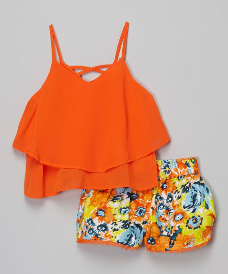 Another great find on #zulily! Orange Crisscross Top & Floral Shorts - Girls by Girls Luv Pink #zulilyfinds