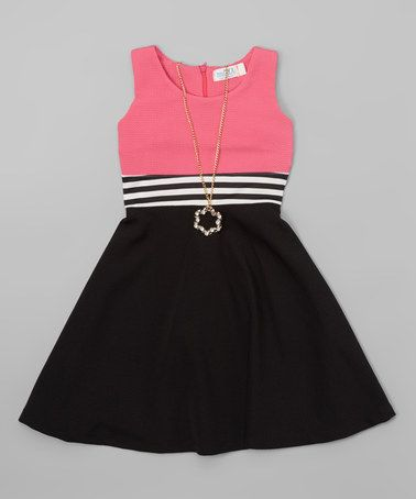 Another great find on #zulily! Pink Contrast Skater Dress & Necklace - Girls #zulilyfinds