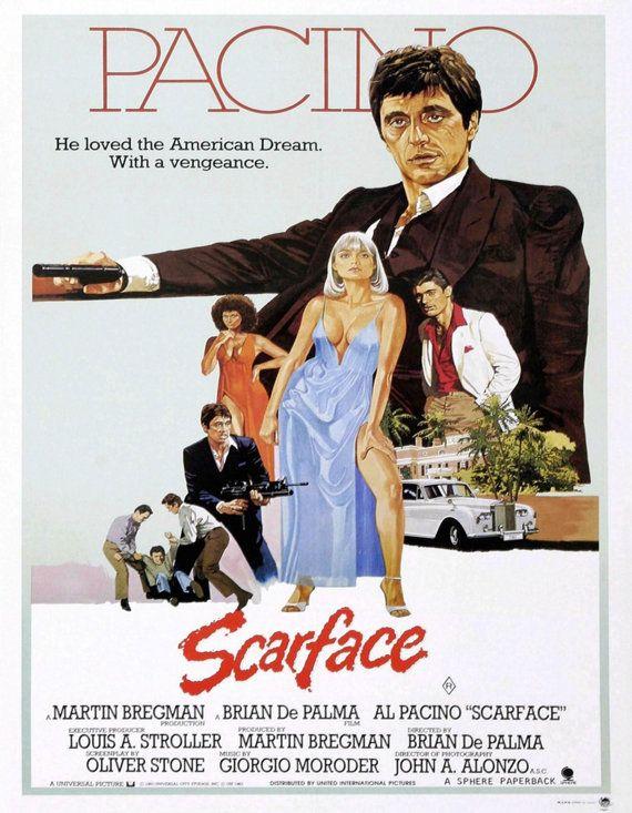 """Pared arte Print - Vintage antiguo Movie Poster Al Pacino Brian de Palma Oliver Stone """"Scarface"""" de 1983 No.129 de impresión 8 x 10"""""""