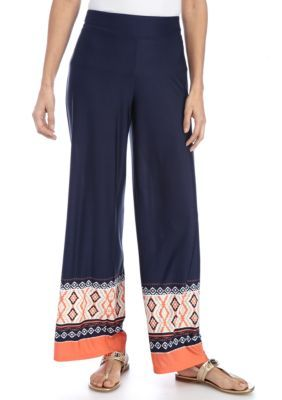 New Directions Tower Royal Petite Border Print Pull-On Pant