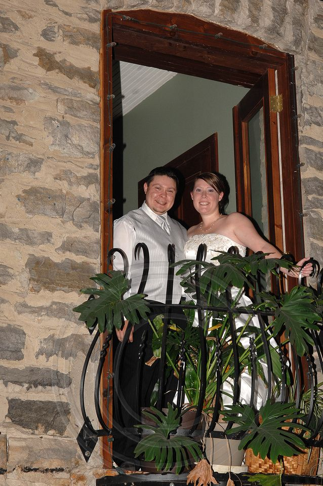 Bride and Groom view from above at Code's Mill On The Park in Perth, Ontario