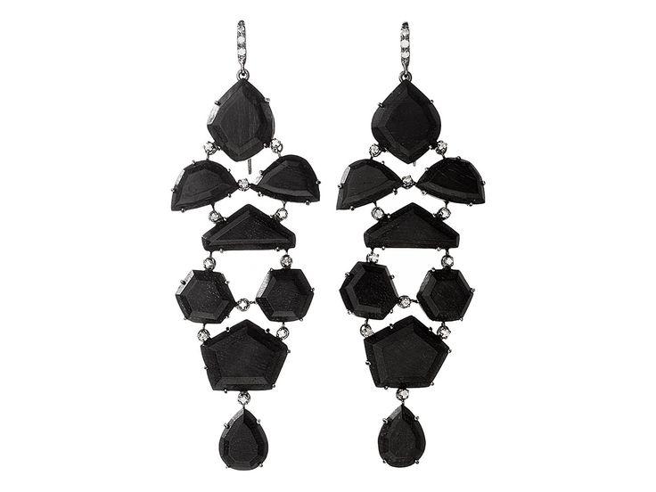 Shawn Ames Eloise Black & White Agate Earrings with Black Diamonds CImtPIanQ