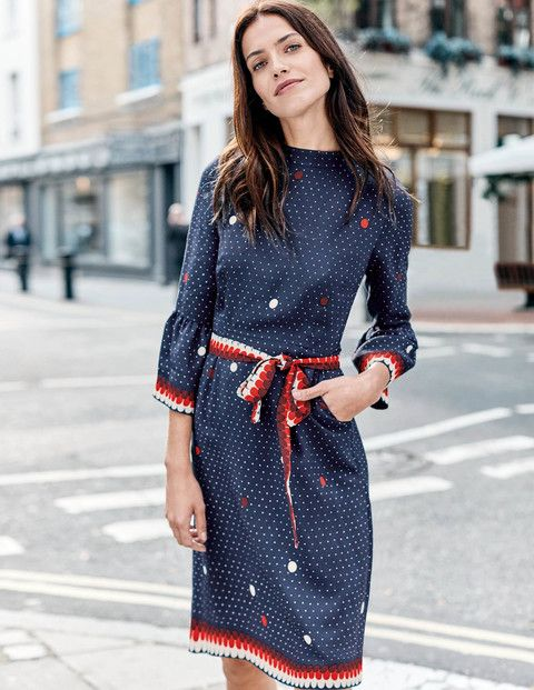 Can one dress really nail casual and smart dress codes? We reckon this versatile style can. Think elegant luxurious satin-backed crepe for comfort, fluted sleeves and placement print to make a statement and a high neck to keep things smart. Because it's so soft on your skin, there's no bulky lining, either.