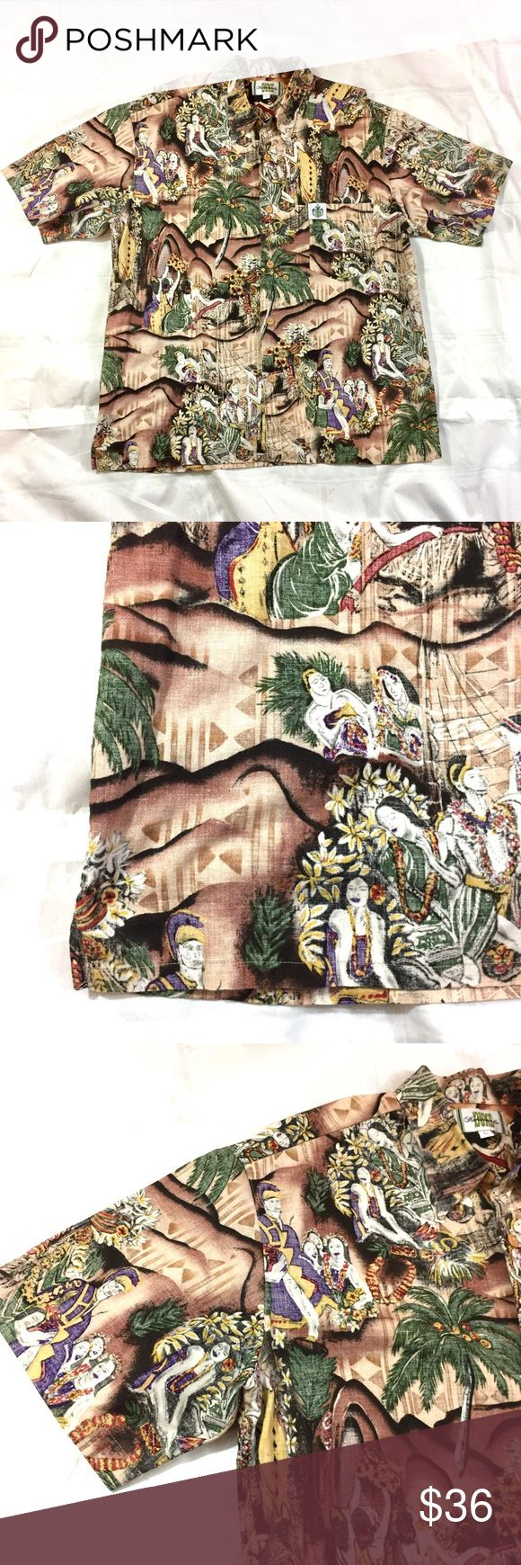 """Hawaiian Shirt Size L Duke Kahanamoku Men's Aloha Aloha and thank you checking out my closet! 🌺  This is a very cool Hawaiian shirt from the Duke Kahanamoku label, size large. It's 100% cotton. The pattern has King Kamehameha as well as girls in grass skirts. The chest measures 24.25"""" across. The length is 30"""". Perfect pau hana attire! Duke Kahanamoku Shirts Casual Button Down Shirts"""