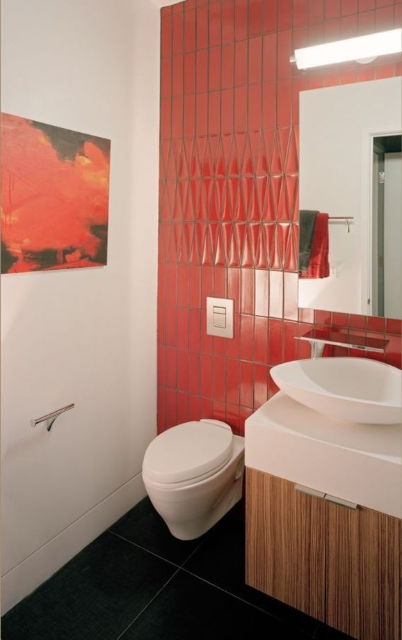 Porch | Red Bathroom Tile from Kaplan Architects
