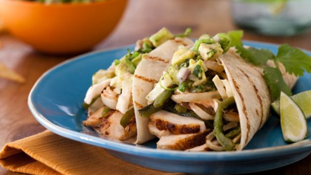 Get Spice-Rubbed Chicken Breast Tacos with Grilled Poblanos, BBQ Onions and Coleslaw Recipe from Food Network