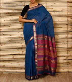 Ethicus blue handwoven sari with zari - $162