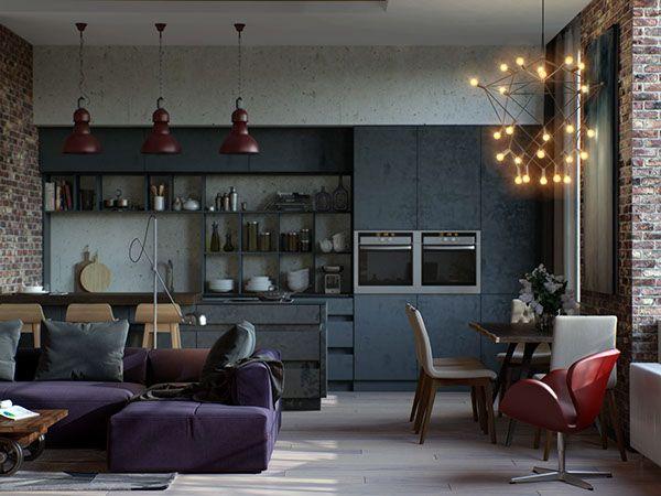 S&L loft-style apartment on Behance