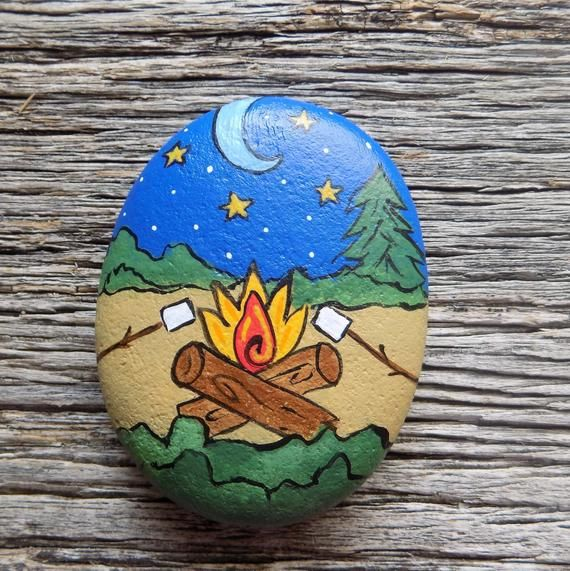 Campfire With Marshmallows Painted Rock Decorative Accent Stone Paperweight Rock Crafts Rock Painting Designs Painted Rocks Diy