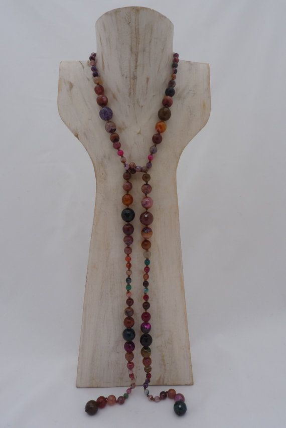 Natural Faceted Agate stone Lariat necklace Hand by UPMARKETJEWELS on ETSY