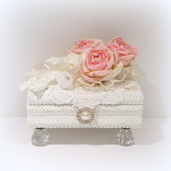 Shabby Chic Decor White Jewelry Box Trinket by uniqueboxboutique 49.00