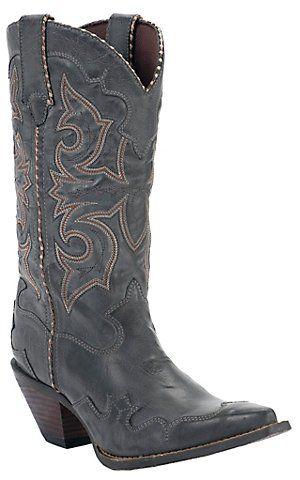 Durango® Crush™ Ladies Smoke Grey Burnished Rock N Scroll Snip Toe Western Boots   Cavender's Boot City