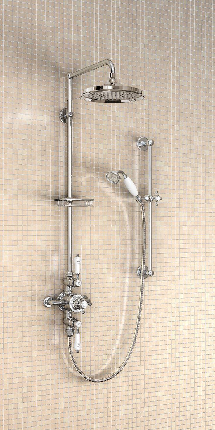 Avon  exposed thermostatic shower valve, Standard vertical riser, Straight shower arm for vertical riser mounting,  9