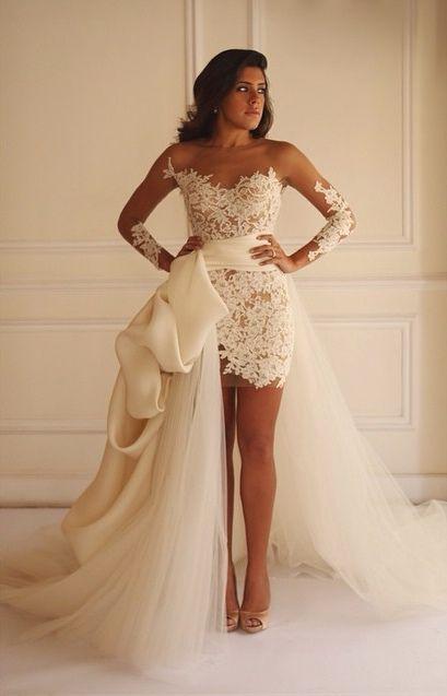 Hi-lo Illusion Lace Wedding Dresses Long Sleeves Sheath A-line Detachable Train Dreamy Bridal Gowns