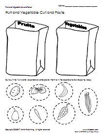 Free Pre-school worksheets, like: Cut and Paste Fruits and Vegetables, a fine motor skills and sorting worksheet