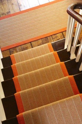 Dart Persimmon, Roger Oates Design, Orange stair runner #StairsandStripes | staircase ideas | Carpet stairs, Hallway runner, Hall runner