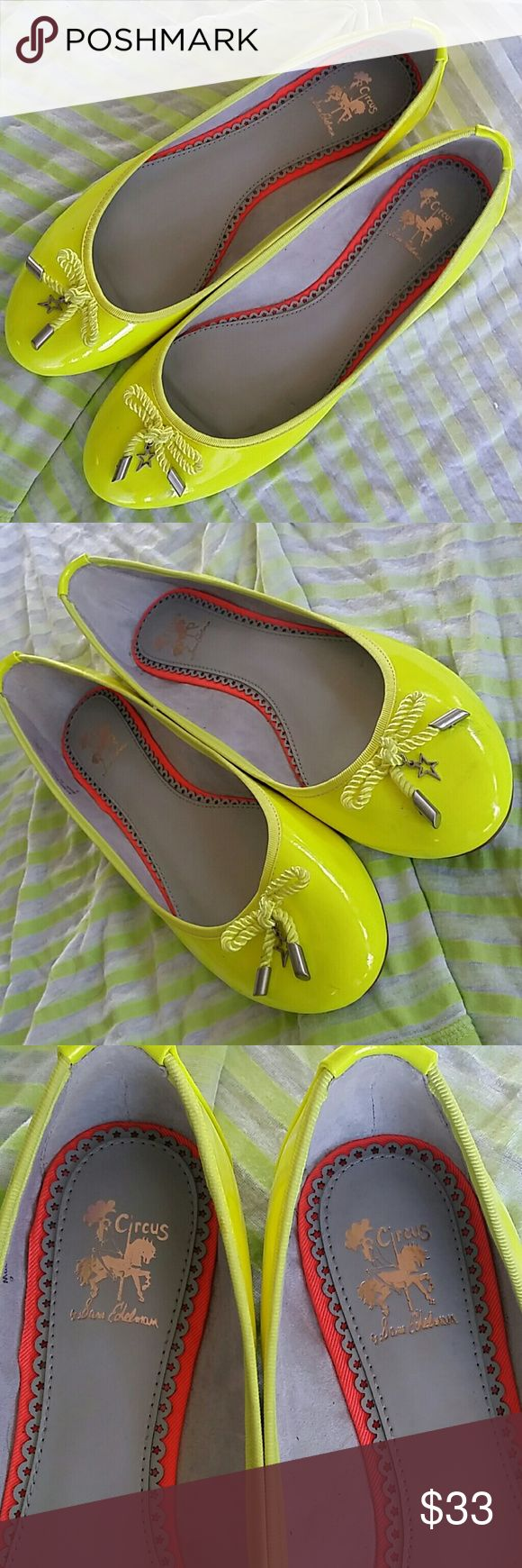 Sam Edelman Neon Ballerina Flats Seeing stars with these adorable Ava flats by Sam Edelman Neon Green/Yellow with cute lil stars on the bows.  Preowned and worn once. Very very lil wear if any.   No Trades No PP  But, YES to offers and bundle discounts! Sam Edelman Shoes Flats & Loafers
