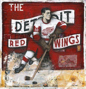 The Detroit Red - Ice Hockey Original Art by Paine Proffitt