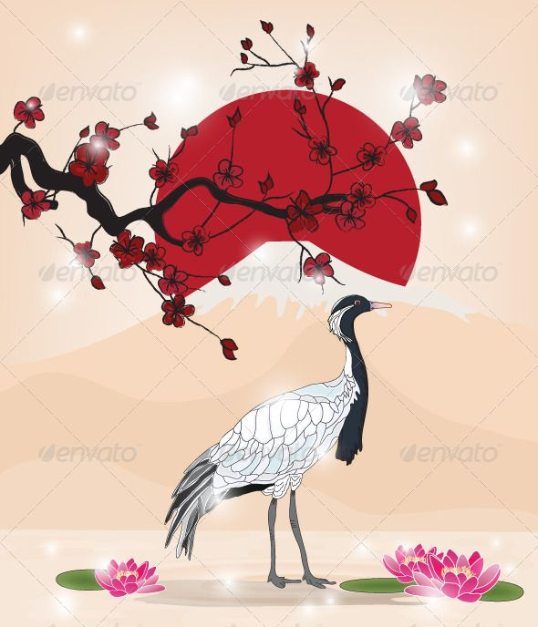 Oriental Picture with Cherry Blossom and Crane #GraphicRiver Oriental picture with cherry blossom branch and crane – EPS10 vector – Hand drawn style with transparent blending effects. Ai and high resolution jpeg included. Created: 15December12 GraphicsFilesIncluded: JPGImage #VectorEPS #AIIllustrator Layered: Yes MinimumAdobeCSVersion: CS Tags: Fuji #asia #asian #bird #branch #cherry #cherryblossom #crane #east #fujimountain #illustration #japan #japanese #landscape #oriental #picture #pond…