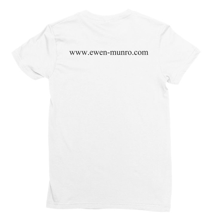 """Ewen's Store - """"Keep Growing Keep Creating"""" Women's White T-Shirt with Website on the back"""