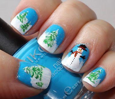 Snowman Nails - Winter Christmas Nail Art