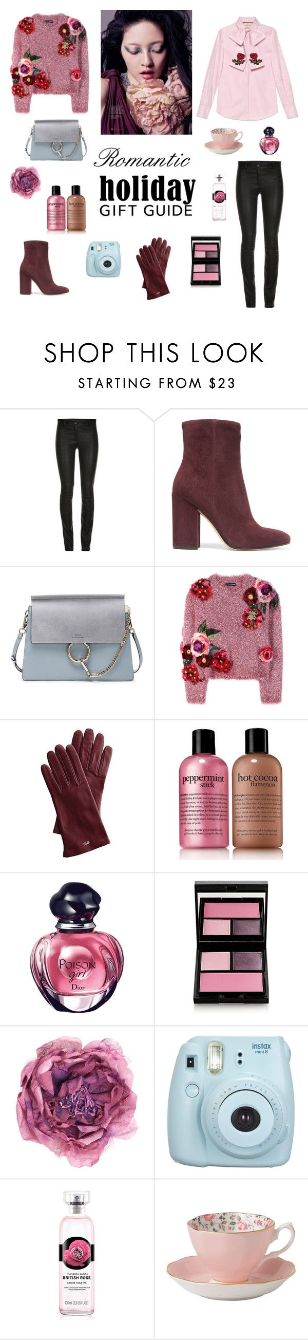 """Romantic gift guide💕"" by dorey on Polyvore featuring ElleSD, Gianvito Rossi, Chloé, Dolce&Gabbana, Mark & Graham, philosophy, Christian Dior, Surratt, Gucci and Fujifilm"