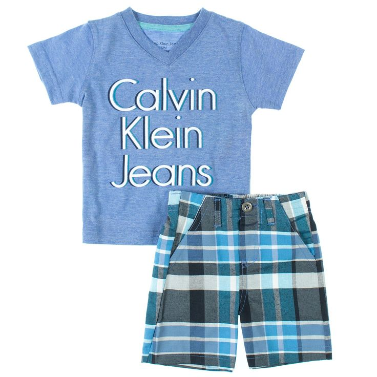 Calvin Klein Babyboys 2-Piece V-Neck Tee & Plaid Chino Shorts Set www.redtagfashion.com