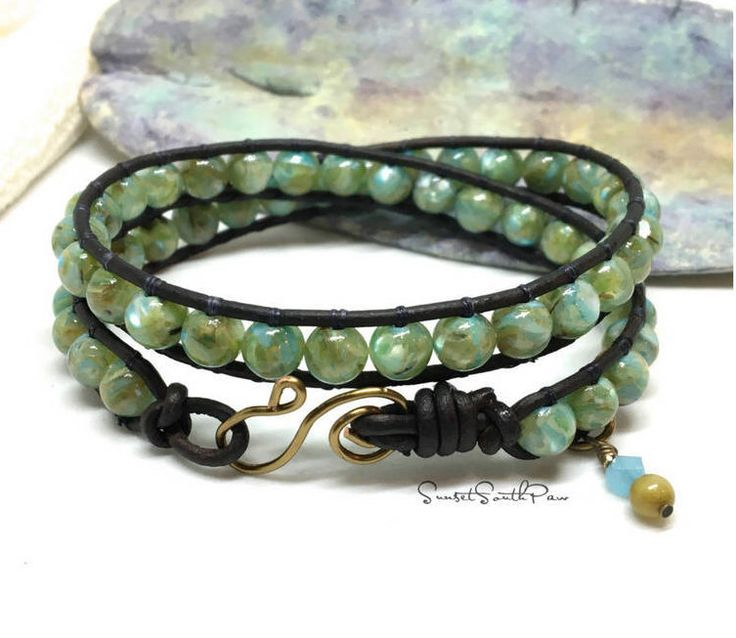 Double Wrap Bracelet, Boho Wrap, Beaded Wrap, Leather Wrap, Beaded Bracelet, Beach Wrap, Coastal Jewelry, Gemstone, Boho Bracelet, Gifts by SunsetSouthPaw on Etsy https://www.etsy.com/listing/570366657/double-wrap-bracelet-boho-wrap-beaded