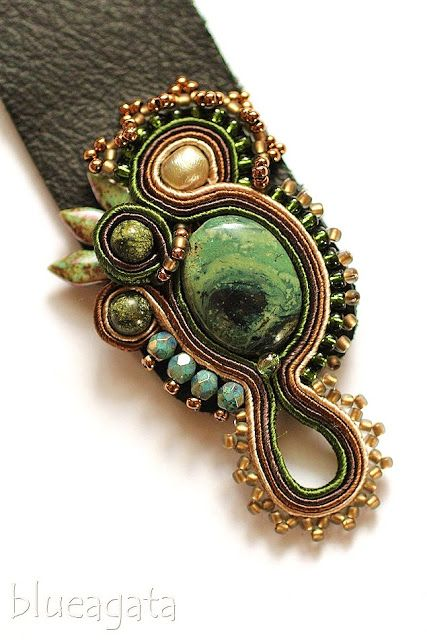 blueagata: Forest Nymph - soutache bracelet with jasper, perl, agate and chrysocolla.