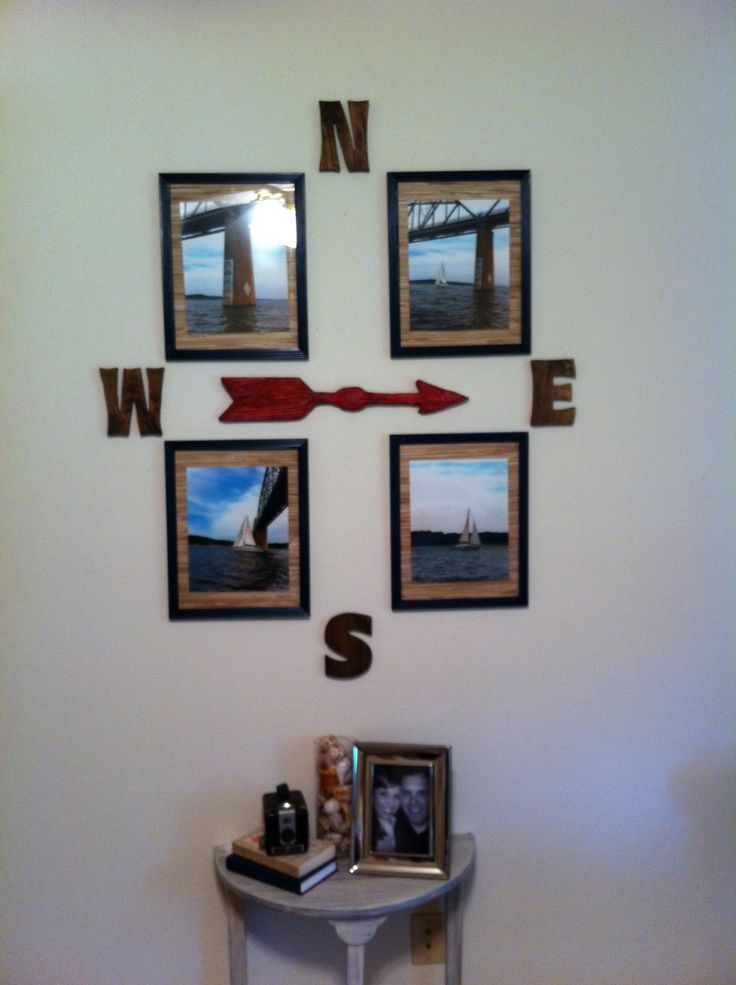 "Just re-decorated my room in my apartment.  Used a nautical theme.  Created a ""compass"" on my wall.  Easy project!"